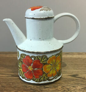 Vintage-Retro-Coffee-Tea-Pot-Ceramic-Orange-Floral