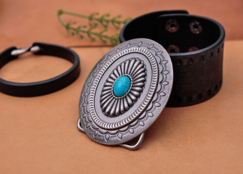 Vintage Silver Southeast Tribal Flower Pattern Turquoise Belt Buckle Huge