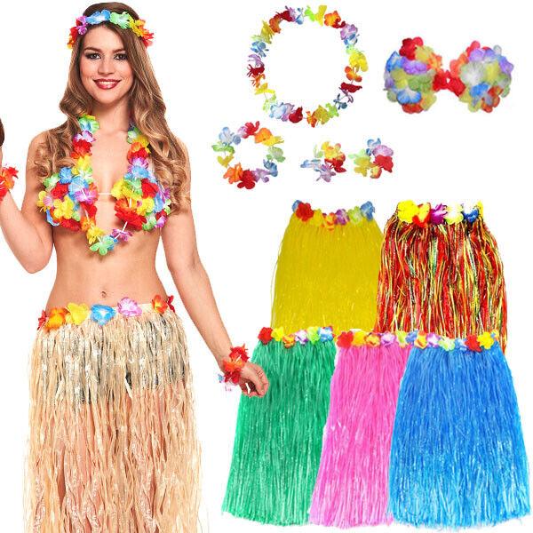 Fancy Dress Costume Beach Leaf Skirt Flower Bra /& Garland Hawaiian Hula Girl