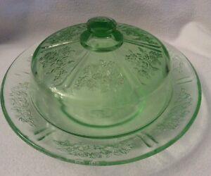 depression glass green sharon cabbage rose butter dish lid ebay. Black Bedroom Furniture Sets. Home Design Ideas