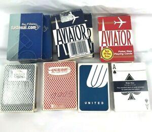 Lot-Of-9-Decks-Of-Playing-Cards-2-Bee-2-Fastenal-3-Aviator-1-Standard-1-United
