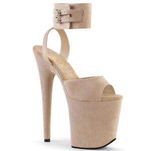 e88a6a4f14be5 Details about Pleaser FLAMINGO-891 Women s Beige Faux Suede Platform Ankle  Band Strap Sandals