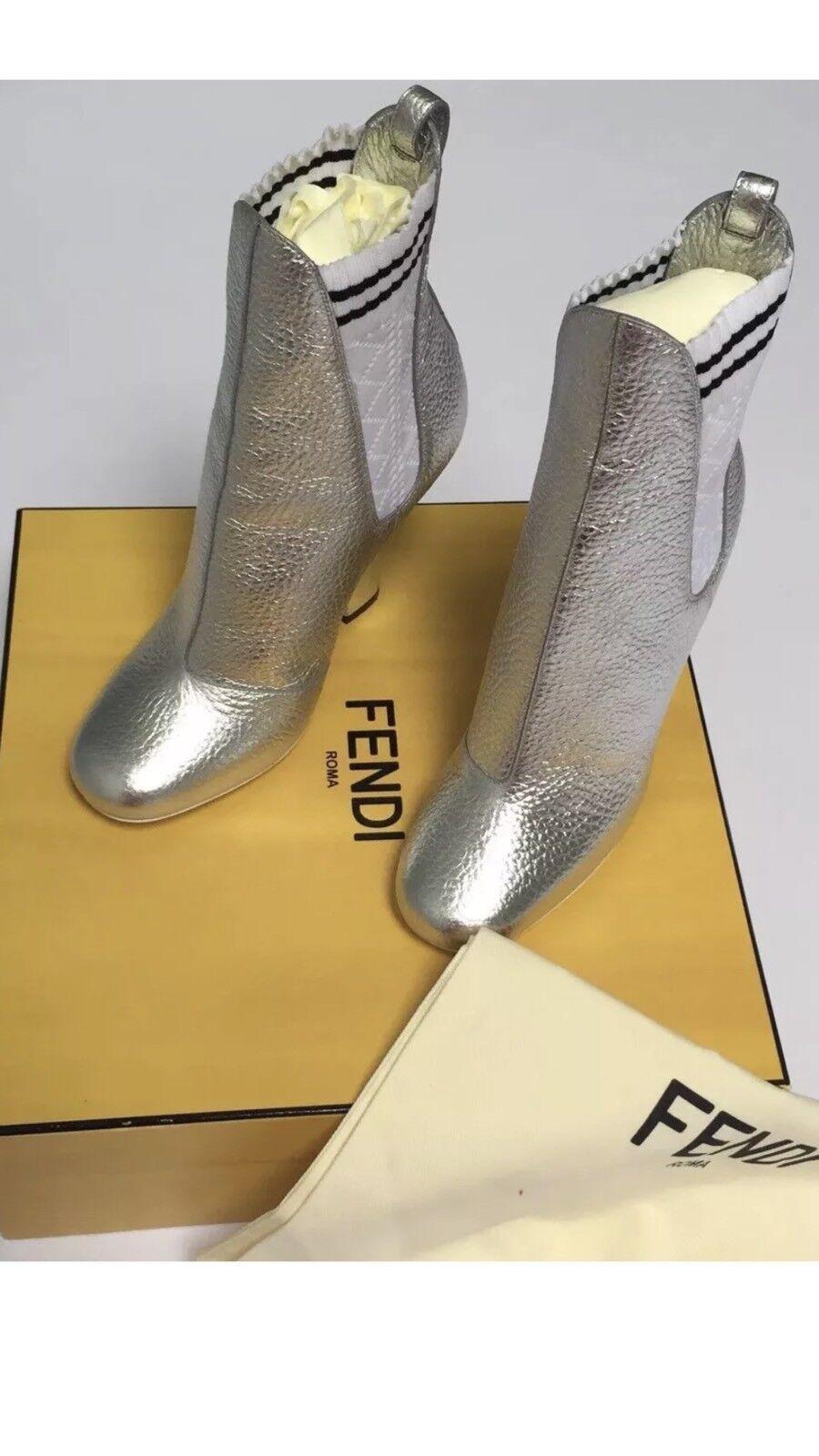 Fendi Roma Women Women Women Boots Size 39 Silver Made in  e6fb50