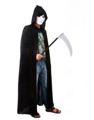 Long Velvet Black Hooded Cloak Cape Deluxe Vampire Halloween Fancy Dress DB