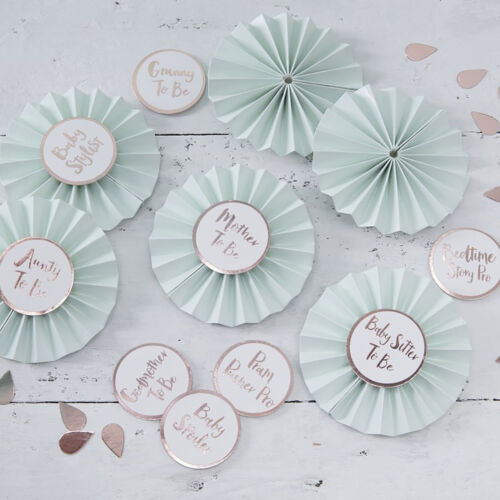 Mint Gender Neutral Baby Shower Mum to Be Badge BABY SHOWER BADGES Rose Gold