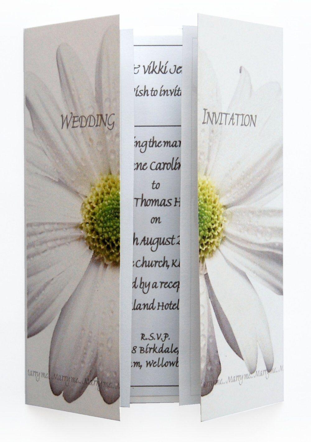Personalised Wedding Invitations Day & Evening- Weiß DAISY FLOWER GATEFOLD