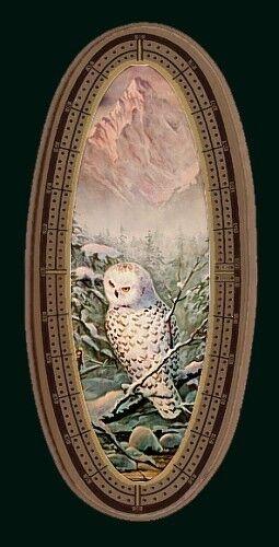CRIBBAGE BOARD by Sharon Sharpe  SNOWY OWL