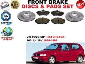 para-VW-POLO-6n1-100-1-4-16v-Hatchback-Discos-freno-Delantero-Set-PASTILLAS-DE