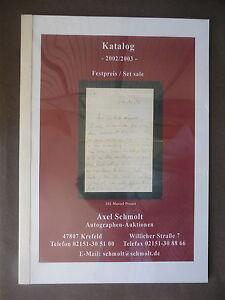 Axel Schmolt Auktionshaus Autographen Festpreis Katalog 2002/03 - Kauschwitz, Deutschland - Axel Schmolt Auktionshaus Autographen Festpreis Katalog 2002/03 - Kauschwitz, Deutschland