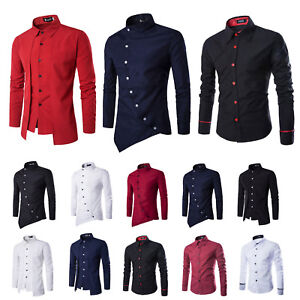 Mens-Slim-Fit-Long-Sleeve-T-Shirt-Shirts-Cotton-Tee-Business-Formal-Tops-Blouse