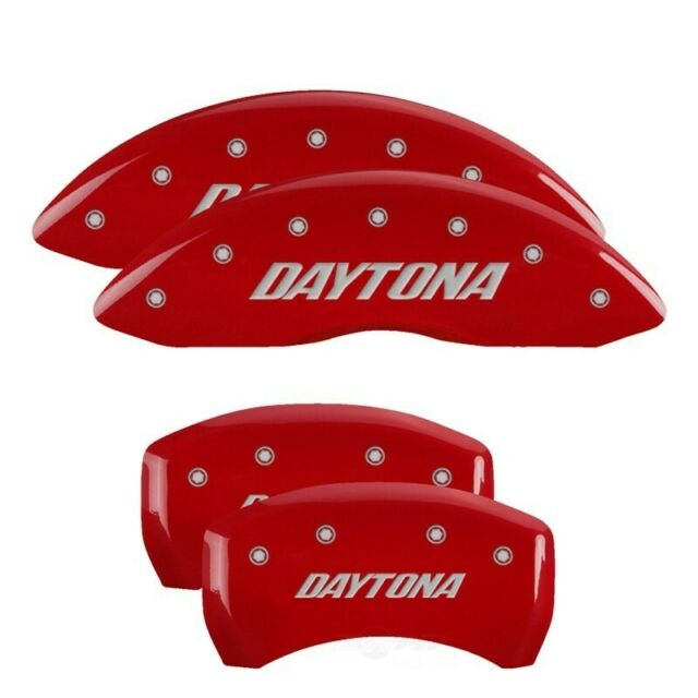 Set of 4 MGP Caliper Covers 12162SDAYRD DAYTONA Engraved Caliper Cover with Red Powder Coat Finish and Silver Characters,