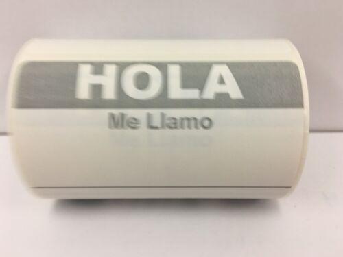 "3-1//2/""x2-3//8/"", 300//Roll Grey HOLA ME LLAMO Name Tag identification Labels"