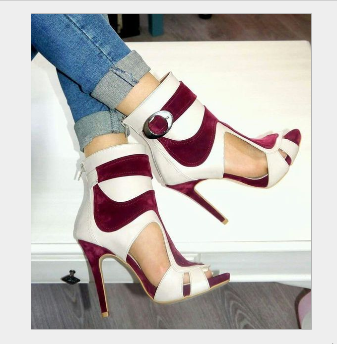 Plus Size Fashion Ladies High Heel Ankle Boots Peep Toe Prom Club Sandals shoes