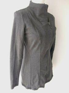 North-Face-Women-039-s-Sz-S-Asymmetric-Zip-Cotton-Sweater-Jacket-Gray-Thumb-Hole