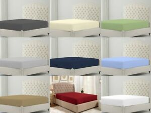 """Matress Home Fitted Sheet 600 TC Egyptian Cotton Extra Size Color 15/"""" Drop"""
