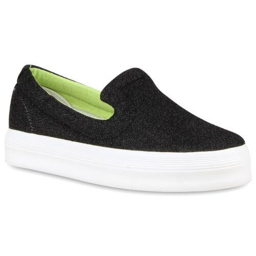 Damen Plateau Slip-ons Glitzer Sneakers Coole Slipper 810626 Schuhe