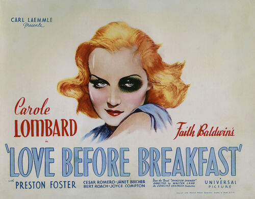 """LOVE BEFORE BREAKFAST 24/""""x36/"""" Giclee on Canvas Classic Movie Poster"""