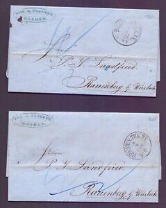 2-Vorphilabriefe-Bremen-1861-mit-Thurn-amp-Taxis-Stempel-nach-Rauenberg-864