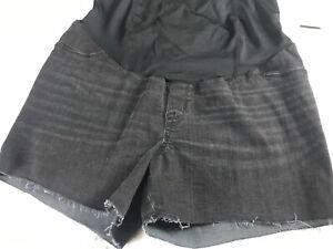 Isabel-Maternity-Shorts-Womens-10-Black-Wash-Denim-Stretch-Belly-Tummy-Pregnancy
