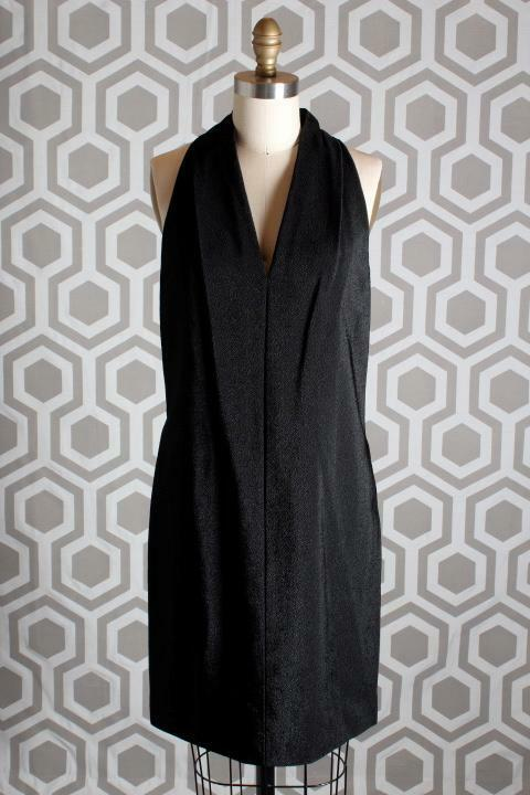 NWT Alexander Wang Folded V Neck Dress 6  Asphalt schwarz