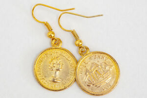 Gold-Coin-Earrings-Dangle-Handmade-Jewelry-Vintage-Charms