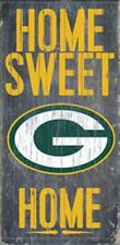 """Green Bay Packers Home Sweet Home Wood Sign 12"""" x 6"""" [NEW] NFL Man Cave Den Wall"""