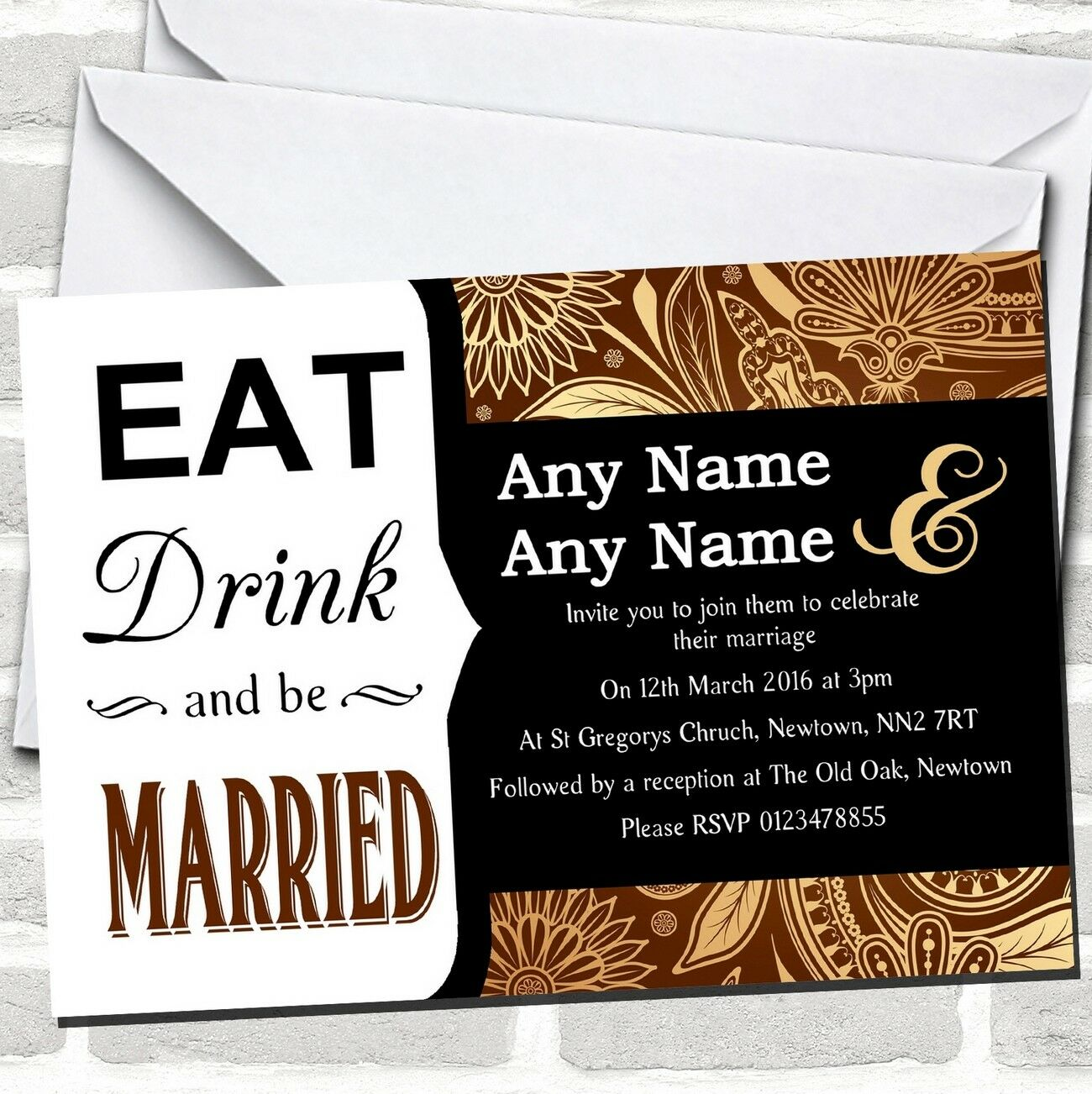 Eat Drink Brown gold Vintage Paisley Wedding Invitations
