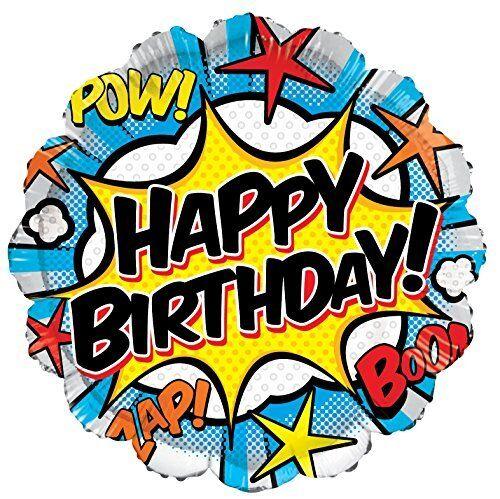 Pow Zap Boom Comic Style Happy Birthday Foil Balloon 46cm 18 inch