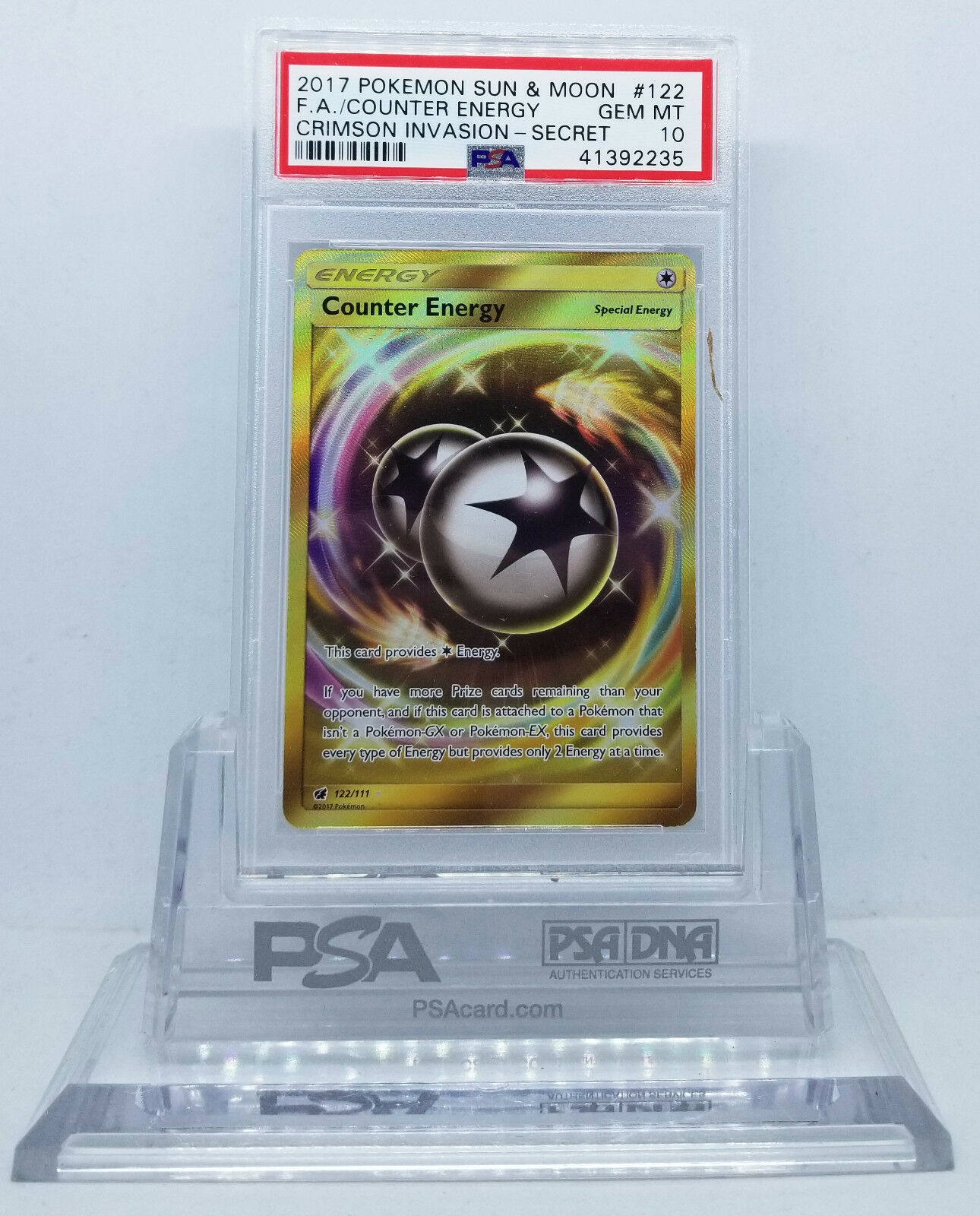 Pokemon CRIMSON INVASION COUNTER ENERGY SECRET RARE gold PSA 10 GEM MINT
