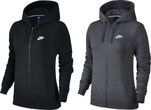 Nike-Women-039-s-Hoodie-Top-Fleece-Jacket-Full-Zip-Sport-Sweatshirt-Black-Grey-Joggi