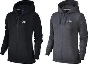 Détails sur Femmes Nike à Capuche Haut Veste polaire zip complet Sport Sweat Noir Gris Joggi afficher le titre d'origine