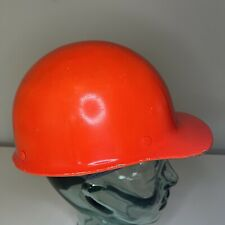 Vintage Msa Skullgard Fiberglass Hard Hat Helmet Orange With Broken Msa Liner