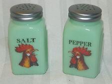 Collectible ROOSTER Jade Jadeite Salt & Pepper Shaker Range Set Arched Chicken