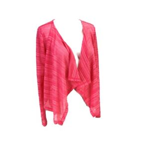 Candie's Pink Cascade Cardigan Open Front Waterfall Sweater Semi Sheer Med NWT