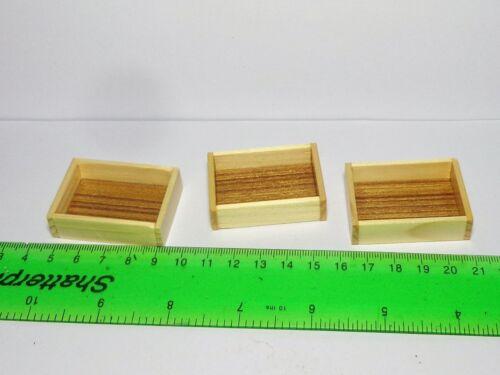 1:12 SCALA 3 grandi dimensioni in legno vassoio BOX GABBIA Casa delle Bambole Accessorio Negozio alimentare