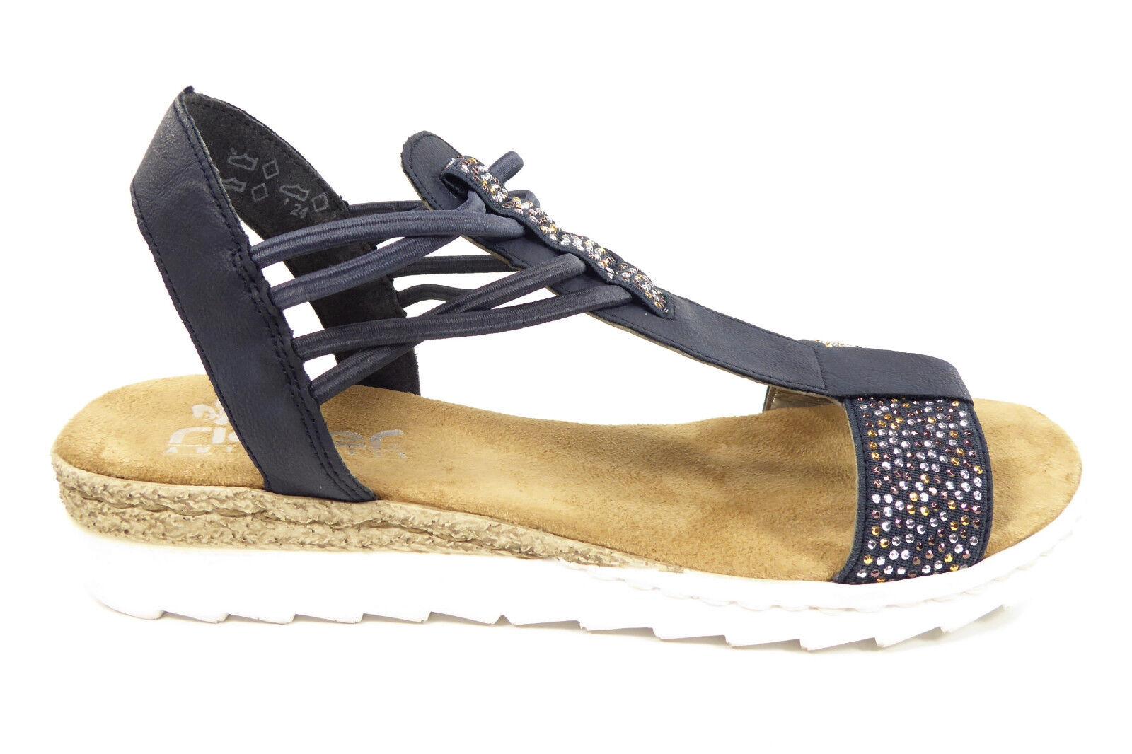 Rieker Damenschuhe Sandalen Sandaletten in Blau 63062-14