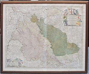 RAME-chiave-Cartina-J-B-Homann-erzbst-colonia-hzgt-Julich-Berg-1720-incorniciato