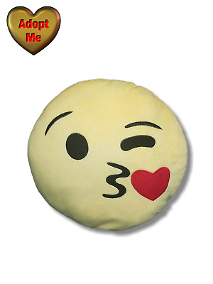 Kissing Winking Yellow Round Love Emoji Pillow Stuffed Plush Smiley Face |  eBay