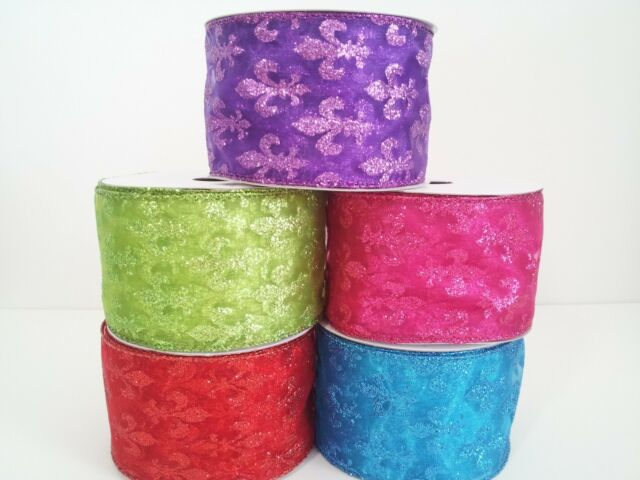 "2 1/2"" Wired Fleur de lis Organza Ribbon 10 Yards"