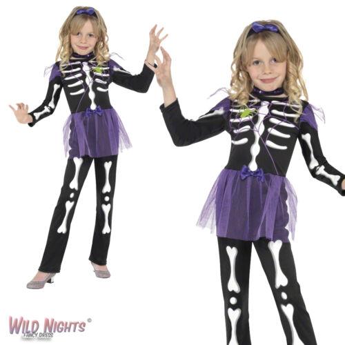FANCY DRESS COSTUME # GIRLS HALLOWEEN SKELETON SKELLIE PUNK GIRL AGE 4-9 YEARS