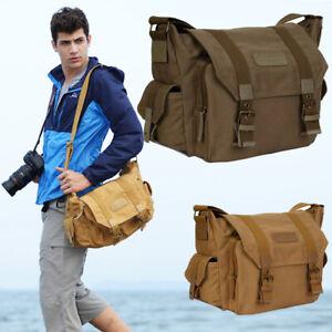 UK-Vintage-Canvas-Leather-Camera-Bag-Shoulder-Messenger-for-Canon-SLR-DSLR-CHF