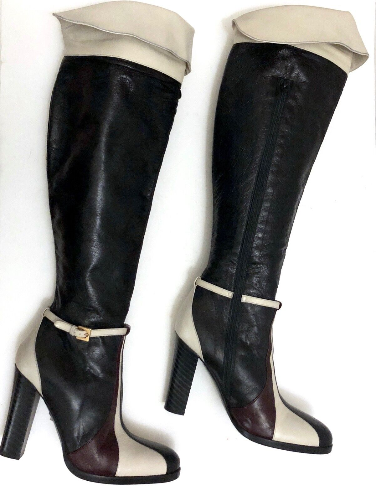 BEBE Over the Knee Genuine Leather Boots Colorblock Groovy Mod Go Go 375 Sz 5