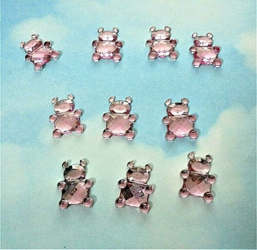 flat back in pink baby Teddy Bear resin cabochon x 10