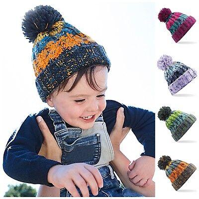 Kids Child Baby Boys Girls Winter Warm Pom Bobble Knit Beanie Hat Outdoor Cap UK