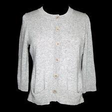 Eileen Fisher 100% Cashmere Gray Button Crewneck Cardigan Sweater Sz - XS