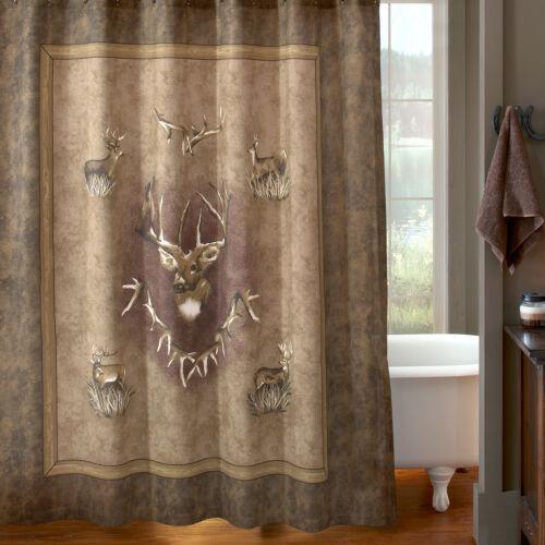 "Blue Ridge Trading Whitetail Ridge Fabric Shower Curtain 72/"" x 72/"" Rustic Brown"
