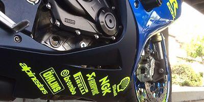 Motorcycle belly pan sponsor graphics decals x 14 fluorescent yellow