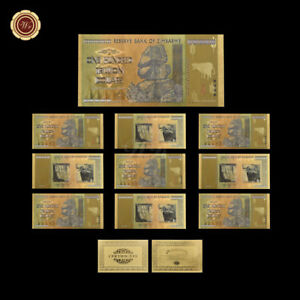 WR-10X-Zimbabwe-100-Trillion-Dollars-Notes-24KT-Gold-Leaf-Banknote-Bulk-Lot-Set