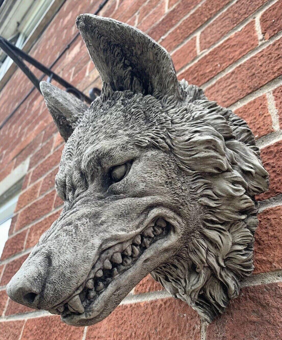 Jardín de piedra natural Grande Cabeza de Lobo detallado colgante de parojo placa Ornamento