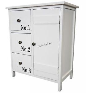 kommode 60cm schublade schrank wei antik landhaus holz schuhschrank t r nummer ebay. Black Bedroom Furniture Sets. Home Design Ideas